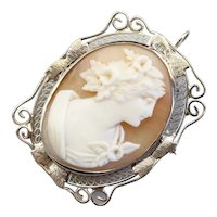 Art Deco Filigree Cameo Brooch or Pendant