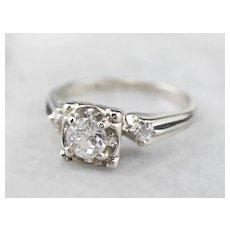 1950s Old Mine Cut Diamond Engagement Ring
