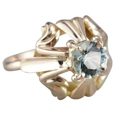 Ornate Upcycled Aquamarine Solitaire Ring