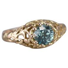 Lovely Blue Zircon Filigree Ring