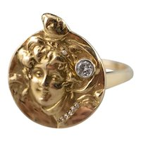 Diamond Lady Portrait Ring