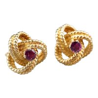 Ruby Twisted Knot Stud Earrings