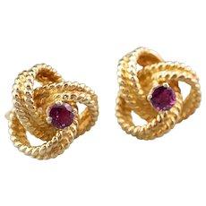 Ruby Twisted Knot Stud Earrings