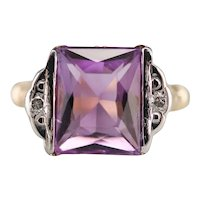 Retro Era Amethyst and Diamond Ring