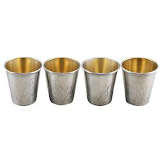 Set of Four 875 Silver Russian Shot Glasses