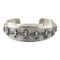 Vintage Native American Sterling Silver Cuff Bracelet, Hopi Dancers Cuff Bracelet