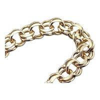 Classic Double Link Vintage Charm Bracelet in Hefty 14 Karat Gold