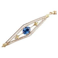 Art Nouveau Sapphire Two Toned Filigree Pendant