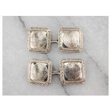 10K White Gold Art Deco Cufflinks