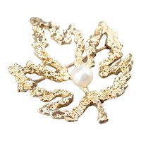 Vintage 14 Karat Gold and Cultured Pearl Maple Leaf Brooch