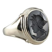 Vintage Men's Black Onyx Intaglio Ring