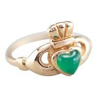 Green Onyx Claddagh Ring