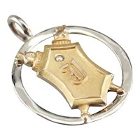 """Upcycled """"J"""" Initial Signet Pendant"""