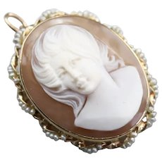 Mid Century Cameo Seed Pearl Brooch or Pendant