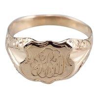 """Antique """"JBD"""" Ornate Signet Ring"""
