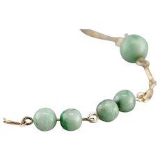 Retro Jadeite Cabochon Beaded Bracelet