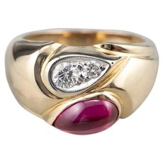 Unisex Synthetic Ruby and Diamond Ring