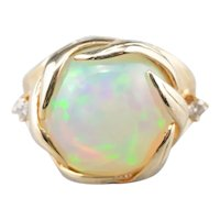 Stunning Opal and Diamond Cocktail Ring