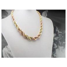 Graduated Two Tone 14 Karat Gold Twist Chain