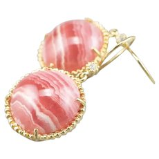 Rhodochrosite and Diamond Drop Earrings