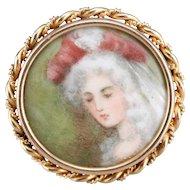 Antique Painted Porcelain Brooch