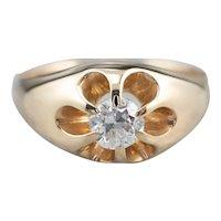European Cut Diamond Solitaire Ring