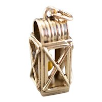 Large 14 Karat Gold and Enamel Lantern Charm