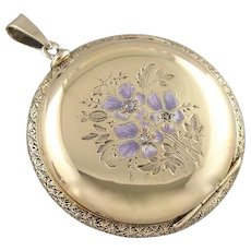 Enameled Flower Keepsake Locket, Solid 14K Gold Pocket Watch Case Turned Locket