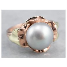 Floral Freshwater Grey Pearl Solitaire Ring