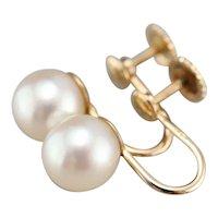 Vintage Screw Back Cultured Pearl Earrings