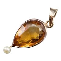 Citrine and Seed Pearl Drop Pendant
