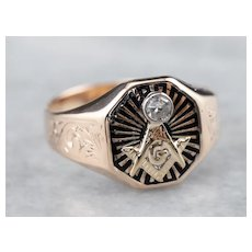 Ostby and Barton Men's Diamond Masonic Ring