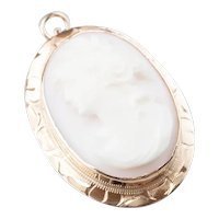 Mid Century Pink Shell Cameo Pendant or Pin