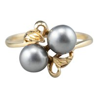Vintage Cultured Grey Pearl Bypass Ring