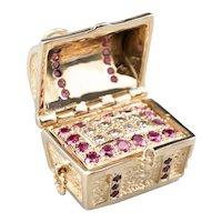 Vintage Ruby and Diamond Treasure Chest Charm