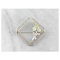 Art Deco Diamond Enamel Filigree Floral Wreath Brooch