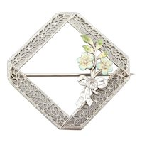 Art Deco Diamond Enamel Filigree Floral Wreath Brooch
