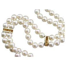 Double Strand White Cultured Pearl Bead Bracelet