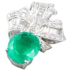 Retro Era Emerald and Diamond Pendant