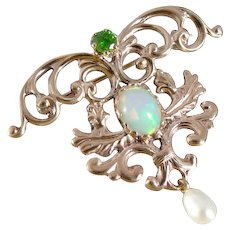 Belle Époque Swag Brooch with Opals and Green Garnet