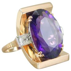 Bold Statement Ring with Natural Amethyst Fine Gemstone