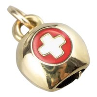 Enamel and 18 Karat Gold Swiss Cowbell Charm