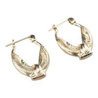 Vintage 14 Karat Golden Eagle Hoop Earrings
