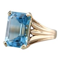 Blue Topaz Cocktail Ring with Lotus Motif
