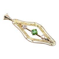 Art Nouveau Demantoid Garnet and Diamond Pendant