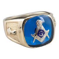 Masonic Blue Glass Men's Statement Ring