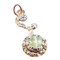 Cat's Eye Chrysoberyl Rose Cut Diamond Pendant