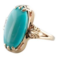 Mid Century Turquoise Cocktail Ring