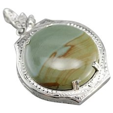 American Jasper and Diamond Upcycled Pendant