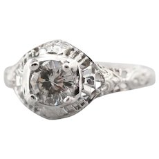 Upcycled Diamond Solitaire Filigree Ring